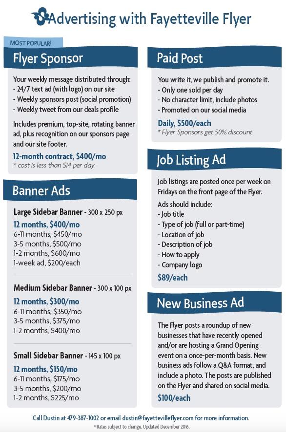 Advertising information | Fayetteville Flyer
