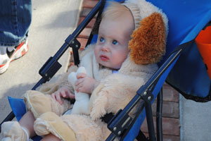 Awesome baby in dog costume