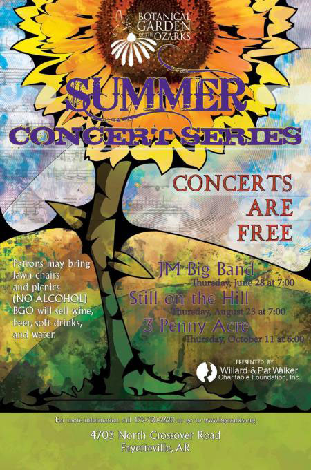 Botanical garden of the ozarks to host outdoor concert series fayetteville flyer for Botanical gardens concert series