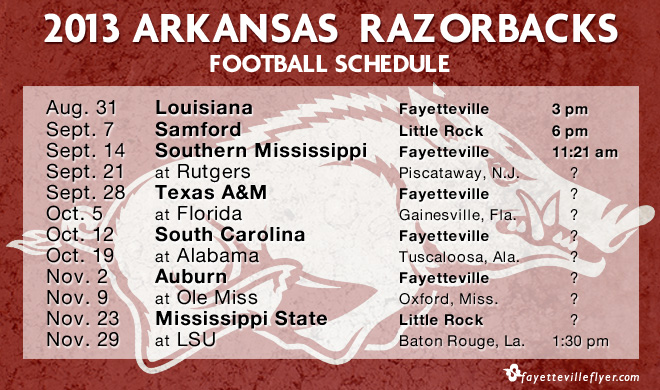 2013 Arkansas Razorbacks Football Schedule Fayetteville
