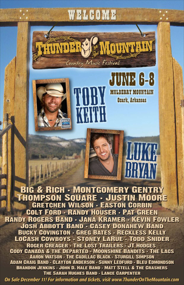 toby keith  luke bryan to headline 2013 thunder on the