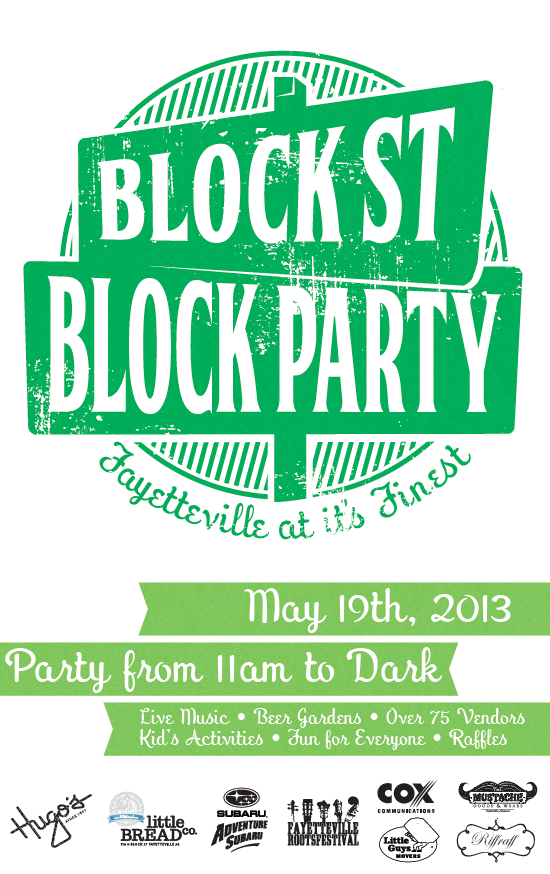 Flyer guide 2013 block street block party fayetteville for Block party template flyers free