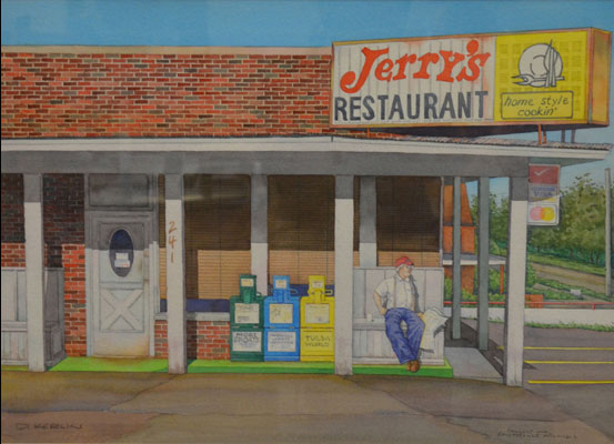 A Watercolor By Artist Daniel Kerlin Of The Old Jerry S Restaurant In Fayetteville
