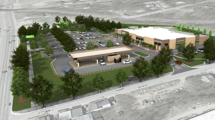 a rendering shows what a proposed walmart neighborhood market might look like at martin luther king jr boulevard and government avenue in south