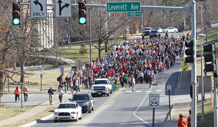 2015 mlk day march travels to ua campus in fayetteville
