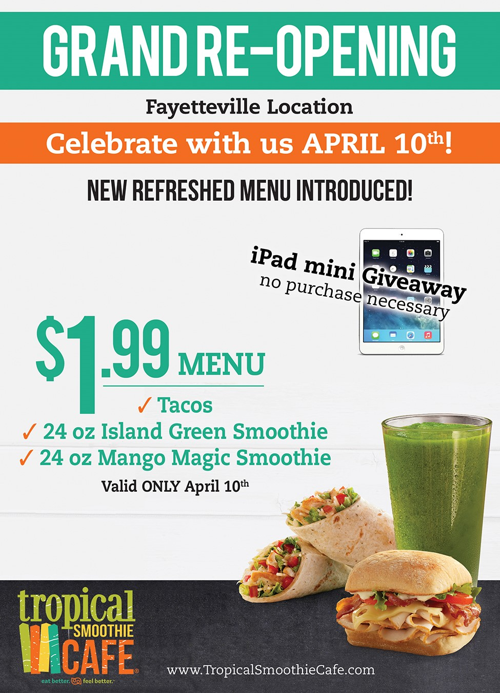ad tropical smoothie cafe to celebrate grand re opening friday with 199 menu - Tropical Cafe 2015