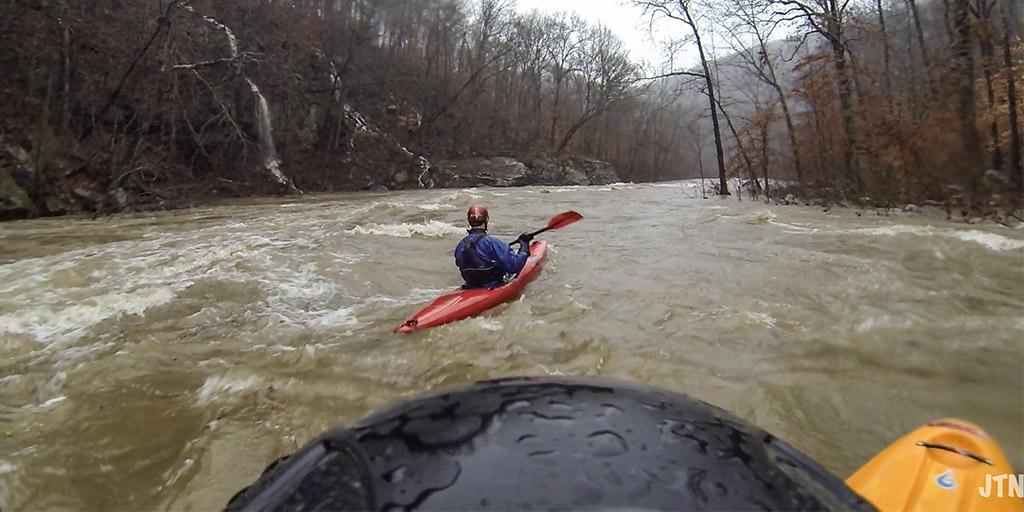 kayaking flooded river