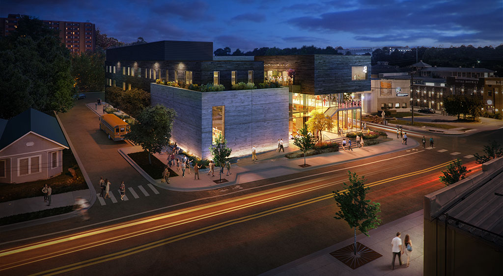 Theatresquared unveils new theater design in downtown for Deck builders fayetteville ar